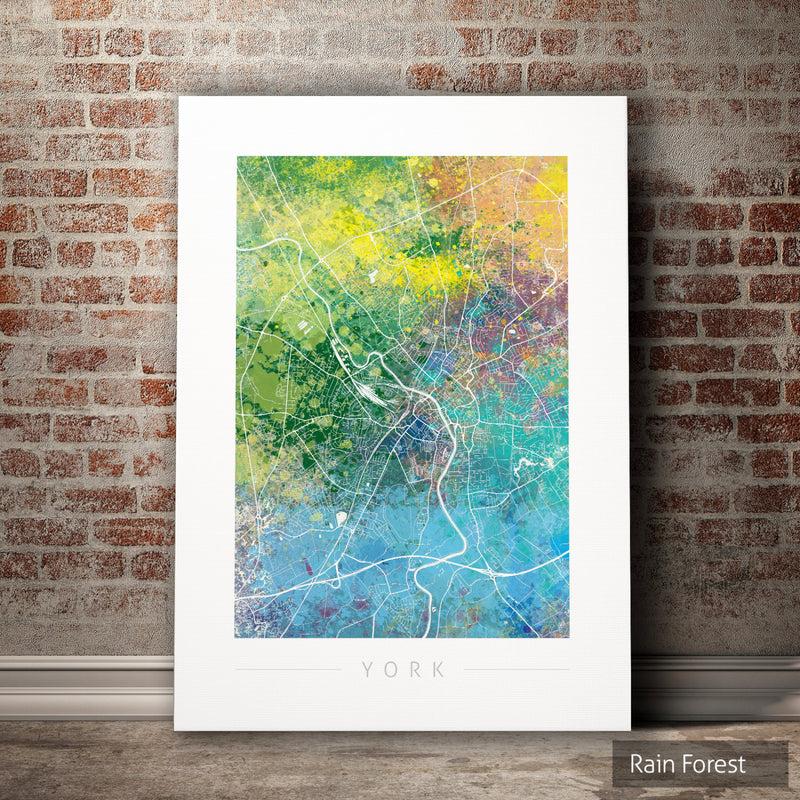York Map: City Street Map of York, England - Nature Series Art Print