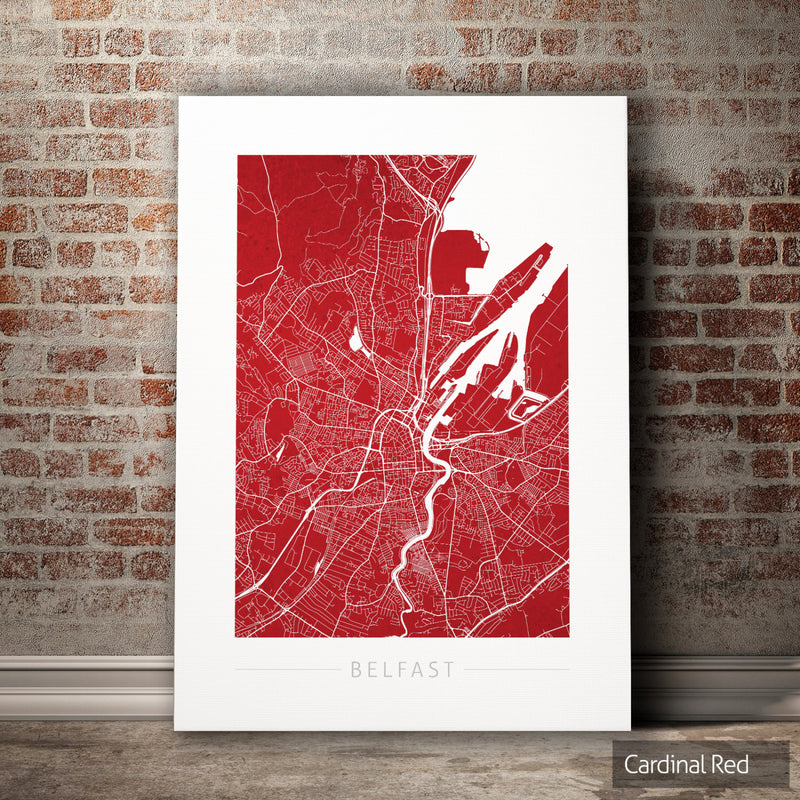 Belfast Map: City Street Map of Belfast, Ireland - Colour Series Art Print