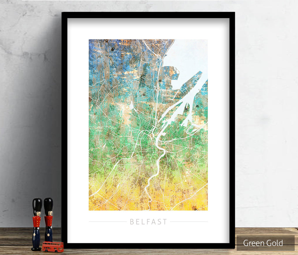 Belfast Map: City Street Map of Belfast, Ireland - Sunset Series Art Print