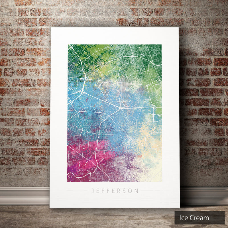 Jefferson Map: City Street Map of Jefferson, Kentucky - Nature Series Art Print