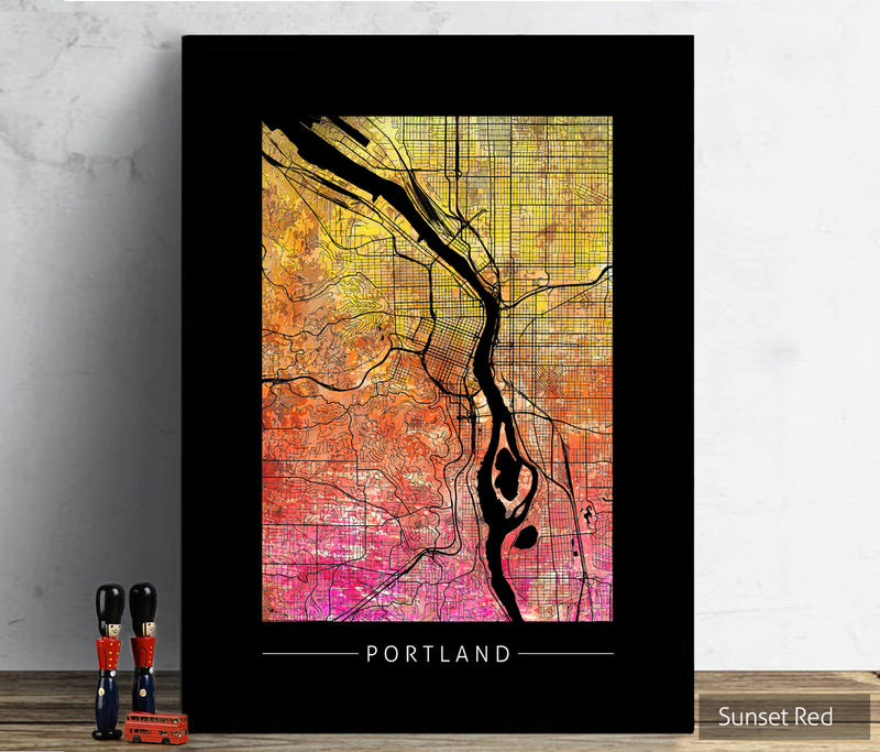 Portland Map: City Street Map of Portland, Oregon - Sunset Series Art Print
