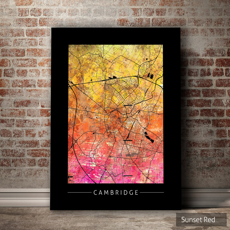 Cambridge Map: City Street Map of Cambridge, England - Sunset Series Art Print