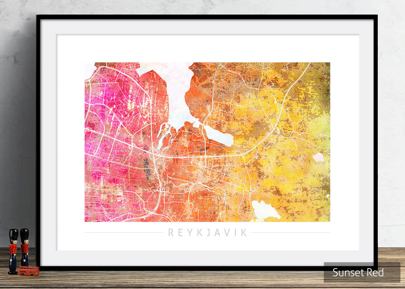 Reykjavik Map: City Street Map of Reykjavik Iceland - Sunset Series Art Print