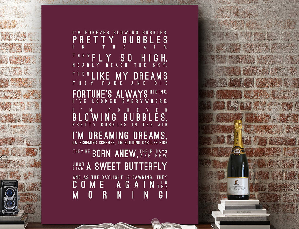 I'm Forever Blowing Bubbles - West Ham United Inspired Lyrics Football Anthems Print