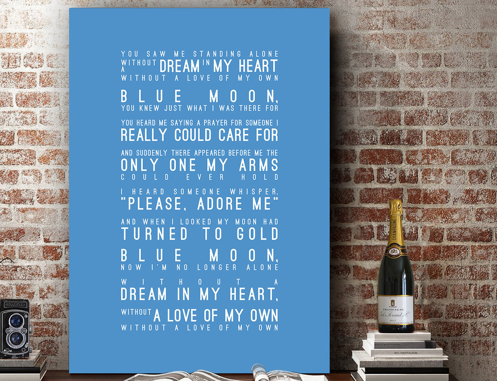 Blue Moon, Manchester City Inspired Lyrics Football Anthems Print