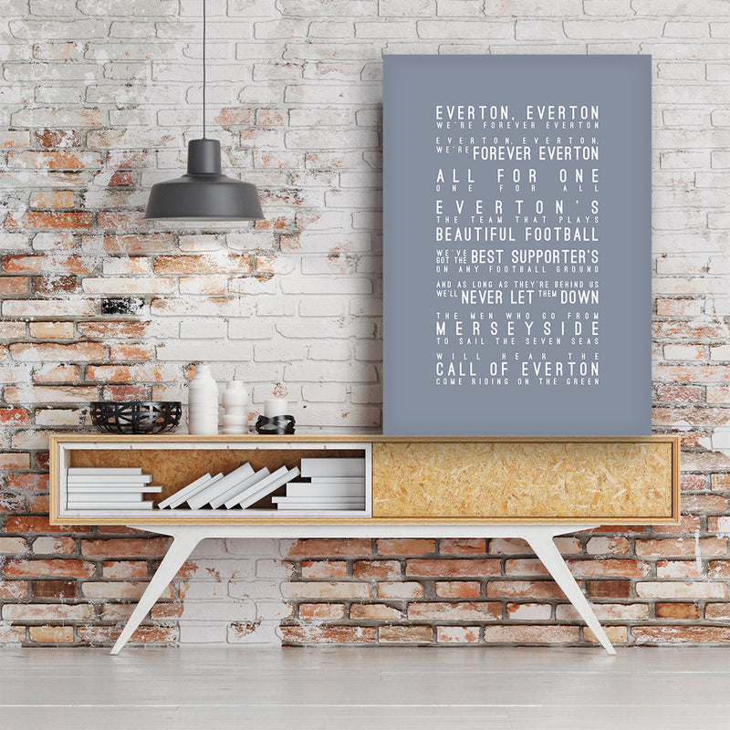 Forever Everton, Everton FC Inspired Lyrics Football Anthems Print