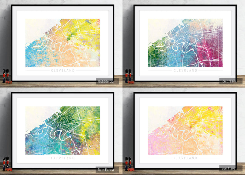 Cleveland Map: City Street Map of Cleveland, Ohio - Nature Series Art Print