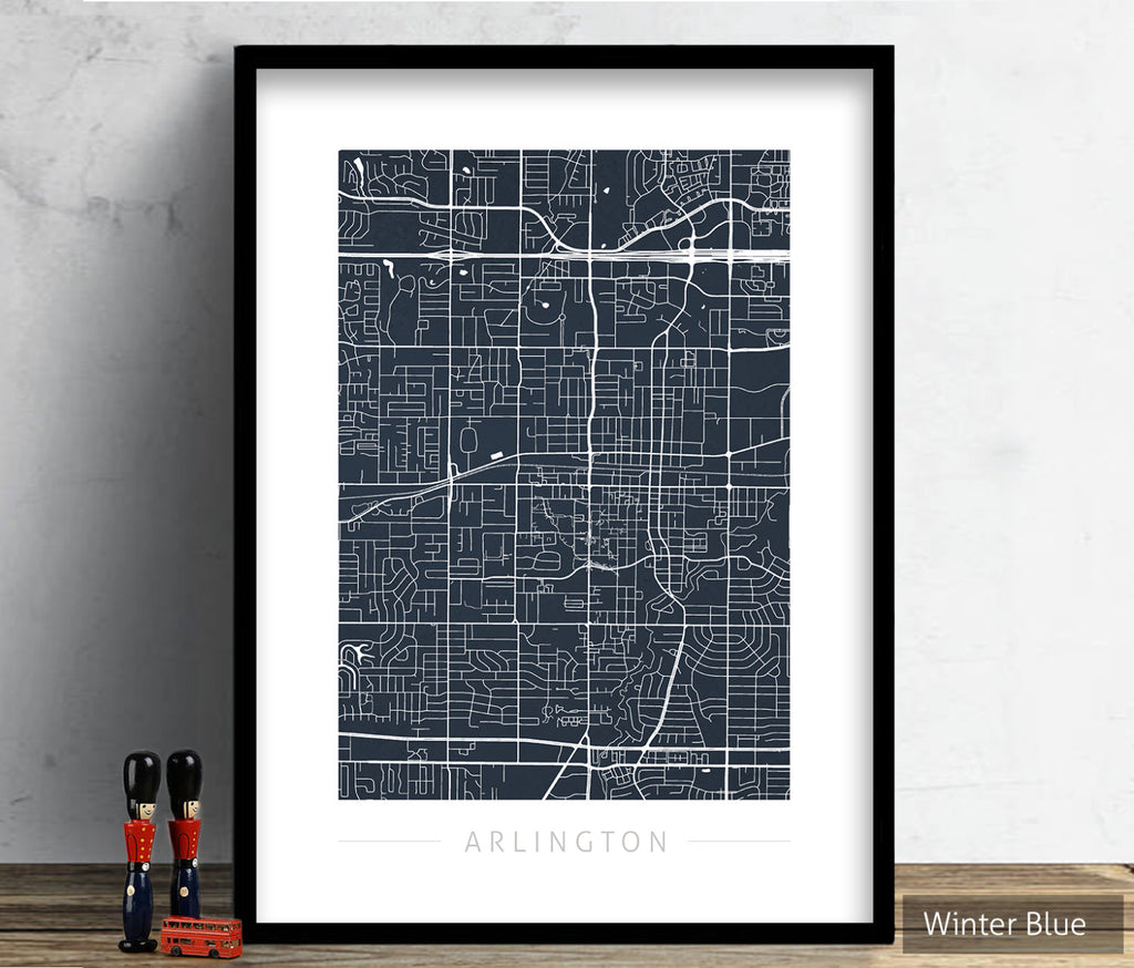 Arlington Map: City Street Map of Arlington, Texas - Colour Series Art Print