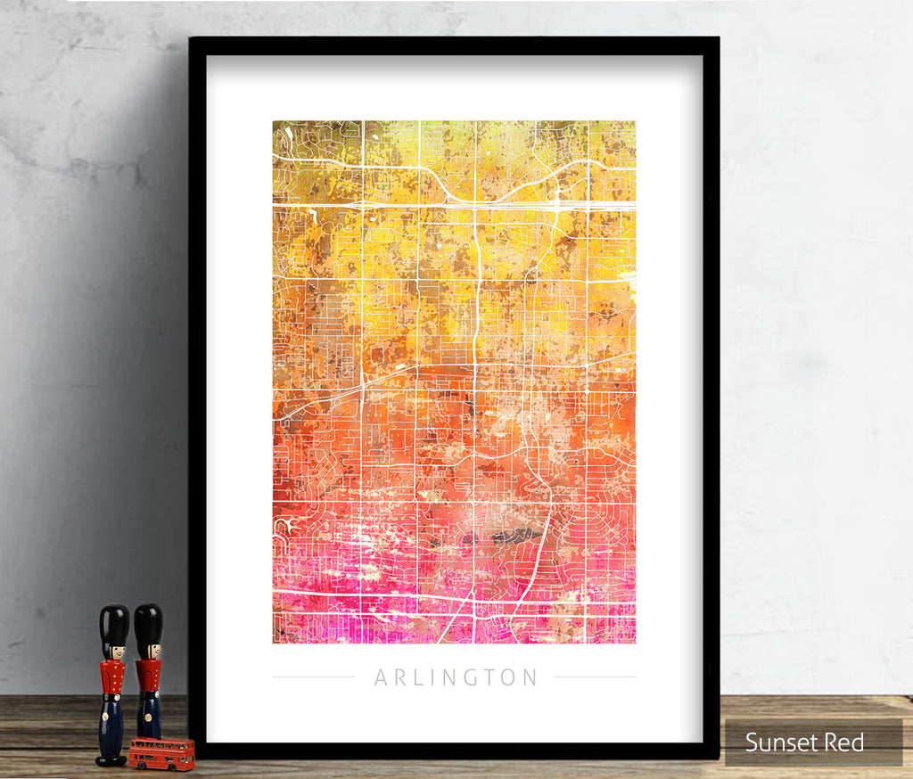 Arlington Map: City Street Map of Arlington, Texas - Sunset Series Art Print