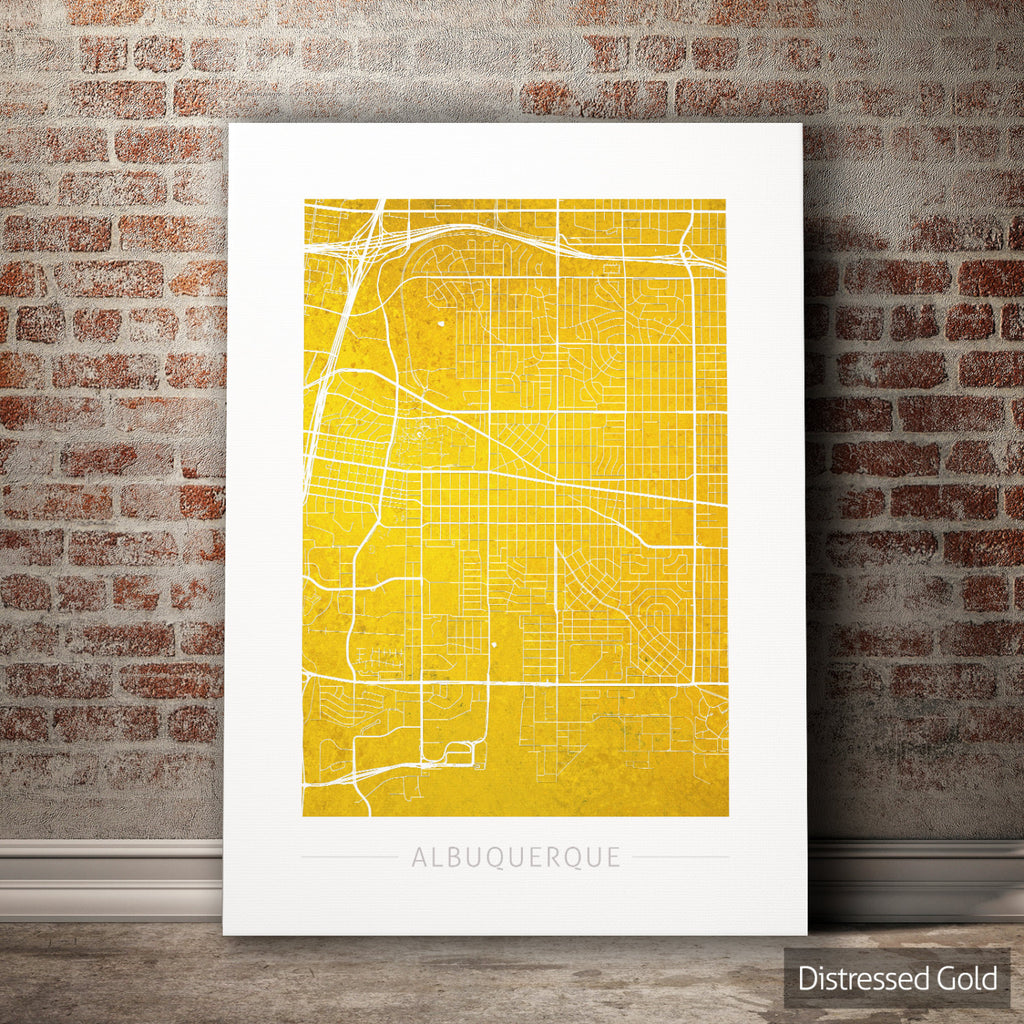 Albuquerque Map: Street Map of Albuquerque, New Mexico - Colour Series Art Print