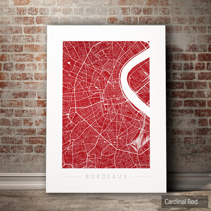 Bordeaux Map: City Street Map of Bordeaux, France - Colour Series Art Print