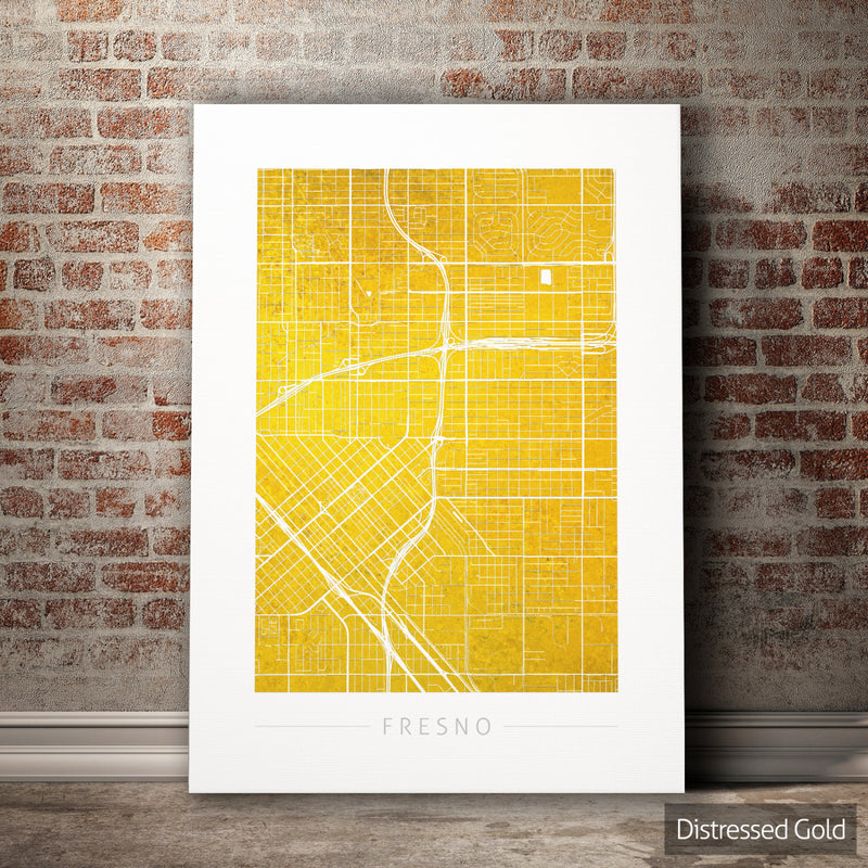Fresno Map: City Street Map of Fresno, California - Colour Series Art Print