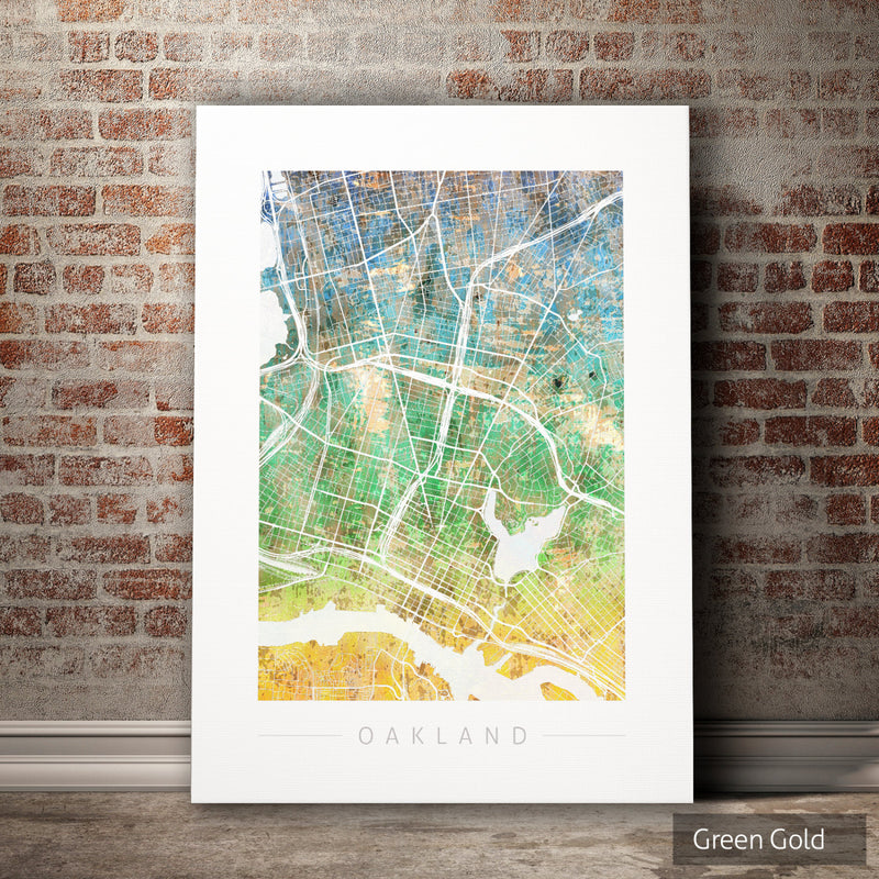 Oakland Map: City Street Map of Oakland, California - Sunset Series Art Print