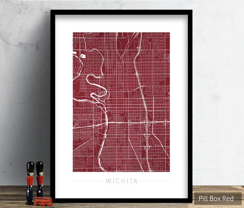 Wichita Map: City Street Map of Wichita, Kansas - Colour Series Art Print