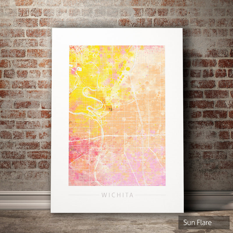 Wichita Map: City Street Map of Wichita, Kansas - Nature Series Art Print