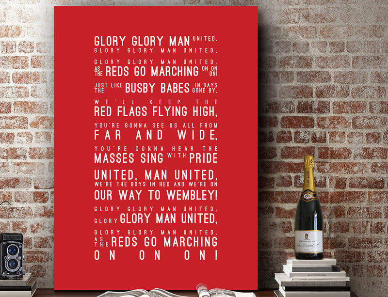 Glory Glory Man Utd - Manchester United Inspired Lyrics Football Anthems Print