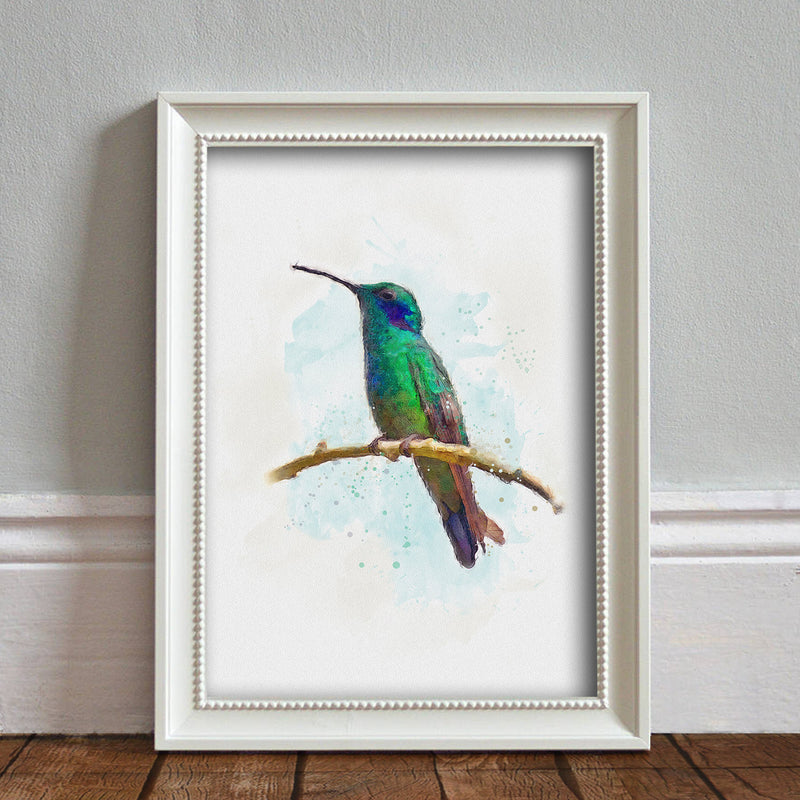 Hummingbird: Watercolor Illustration Wildlife Art Print