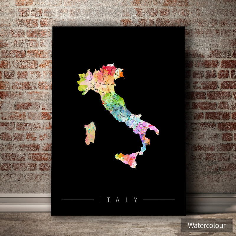 Italy Map: Country Map of Italy - Sunset Series Art Print