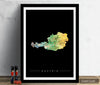Austria Map: Country Map of Austria - Sunset Series Art Print