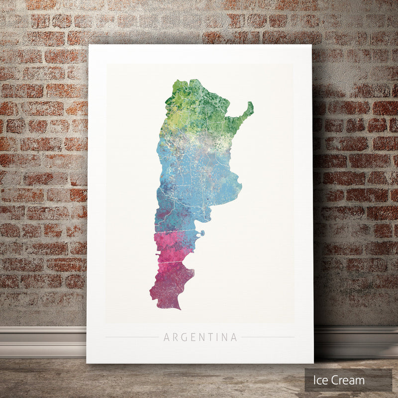 Argentina Map: Country Map of Argentina  - Nature Series Art Print