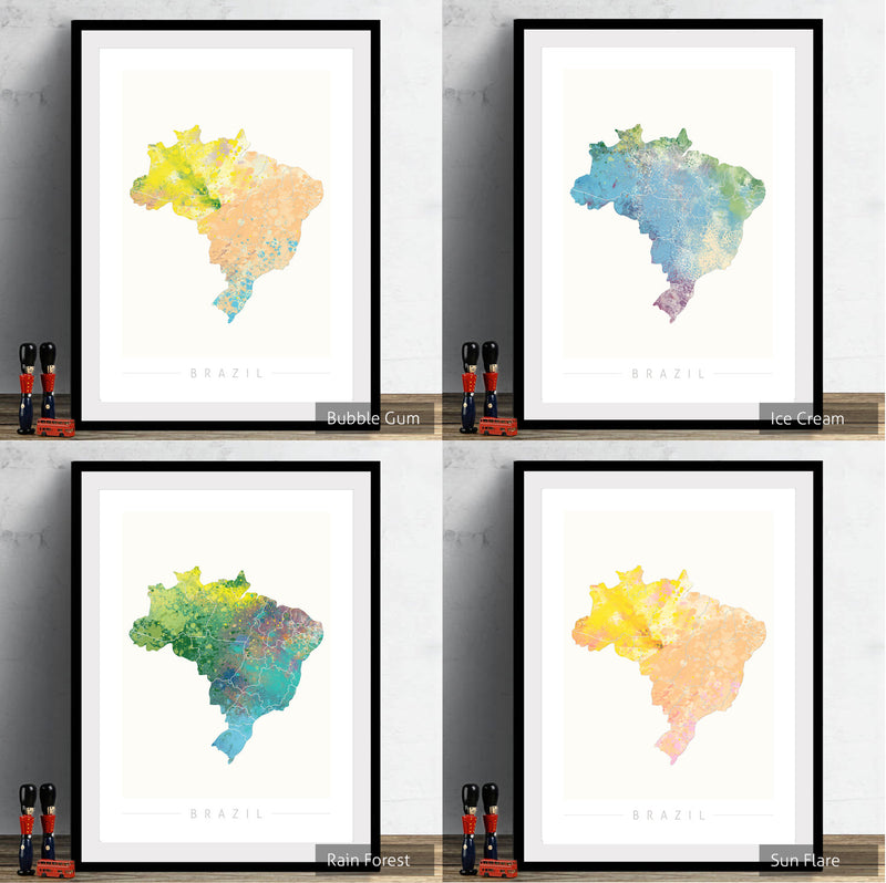 Brazil Map: Country Map of Brazil - Nature Series Art Print