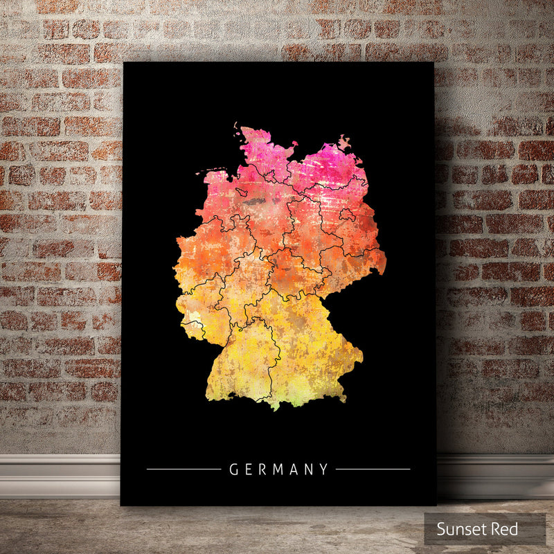 Germany Map: Country Map of Germany - Sunset Series Art Print
