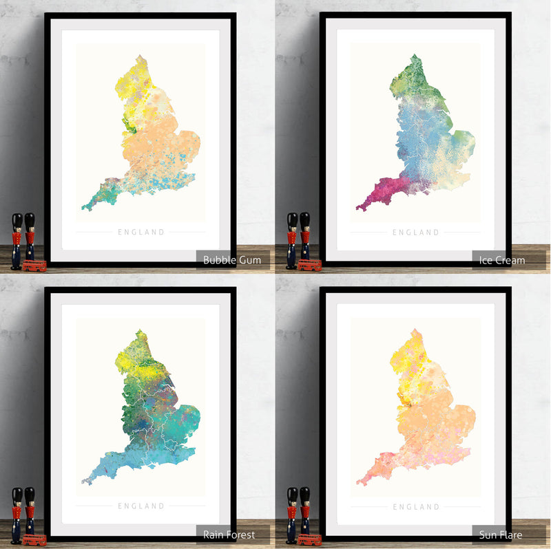 England Map: Country Map of England  - Nature Series Art Print