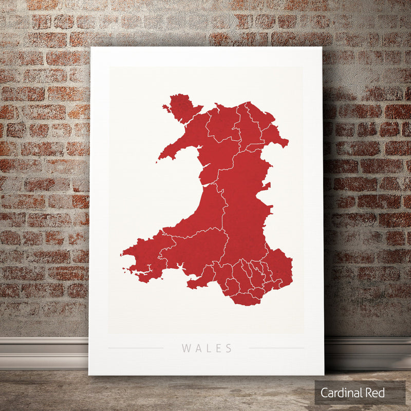 Wales Map: Country Map of Wales - Colour Series Art Print