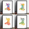 Wales Map: Country Map of Wales - Sunset Series Art Print