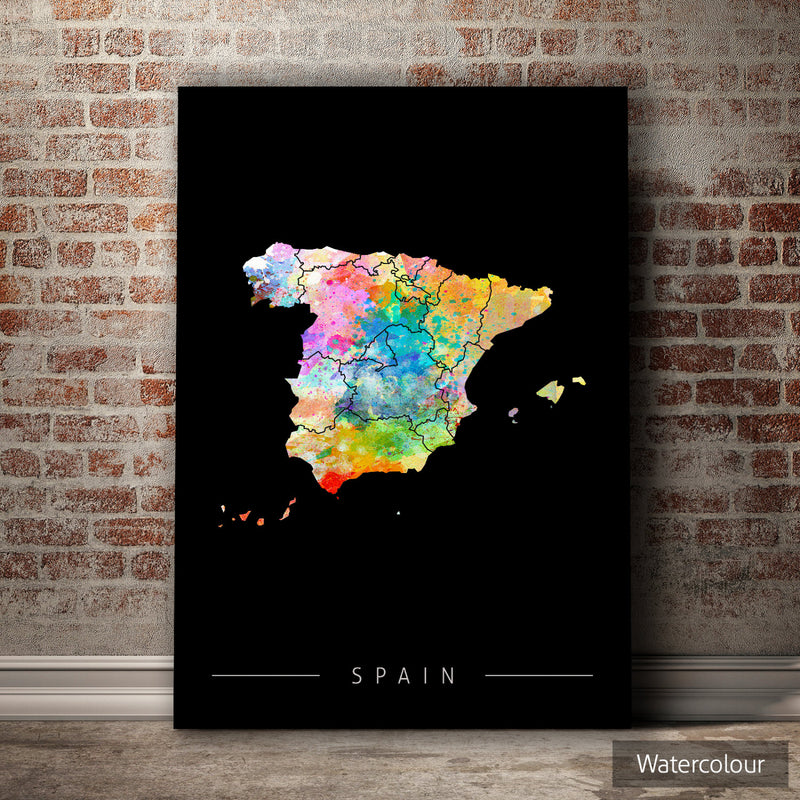 Spain Map: Country Map of Spain - Sunset Series Art Print