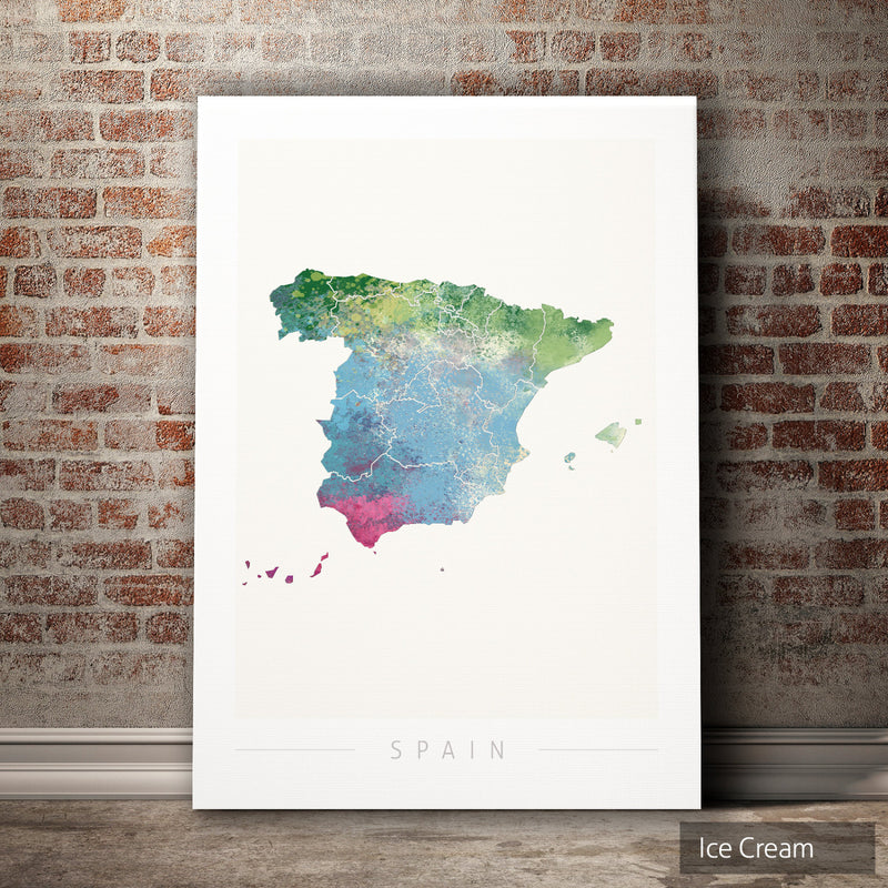 Spain Map: Country Map of Spain  - Nature Series Art Print