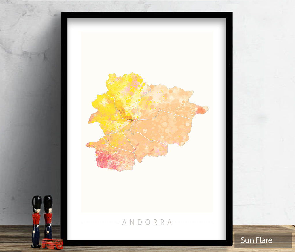 Andorra  Map: Country Map of Andorra  - Nature Series Art Print