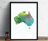 Australia Map: Country Map of Australia  - Nature Series Art Print