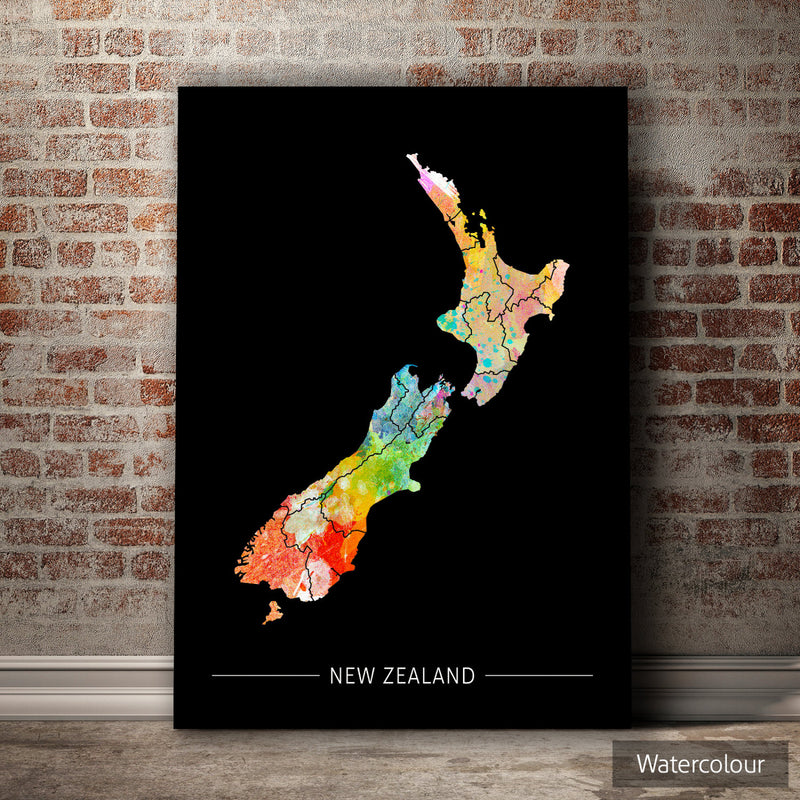 New Zealand Map: Country Map of New Zealand - Sunset Series Art Print