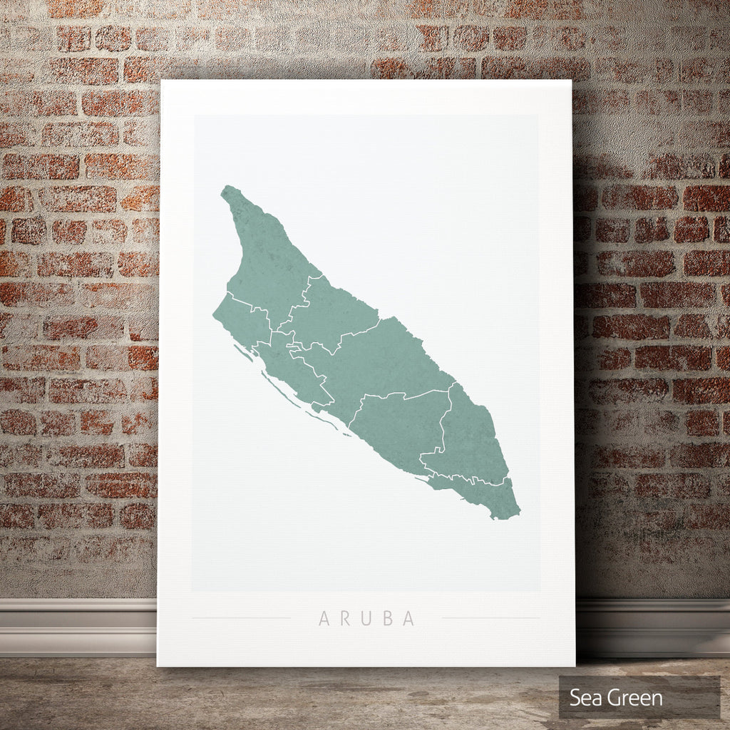 Aruba Map: Country Map of Aruba - Colour Series Art Print
