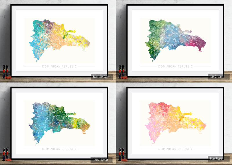 Dominican Republic Map: Country Map  - Nature Series Art Print