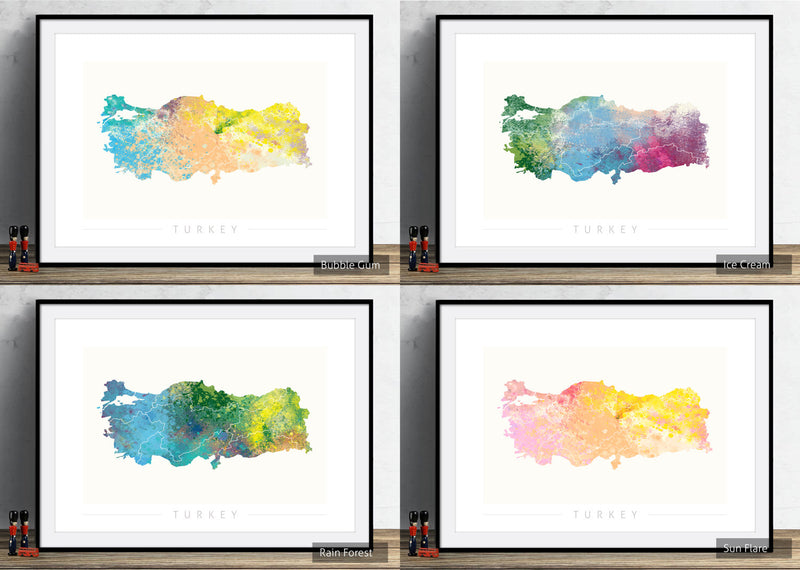 Turkey Map: Country Map of Turkey  - Nature Series Art Print