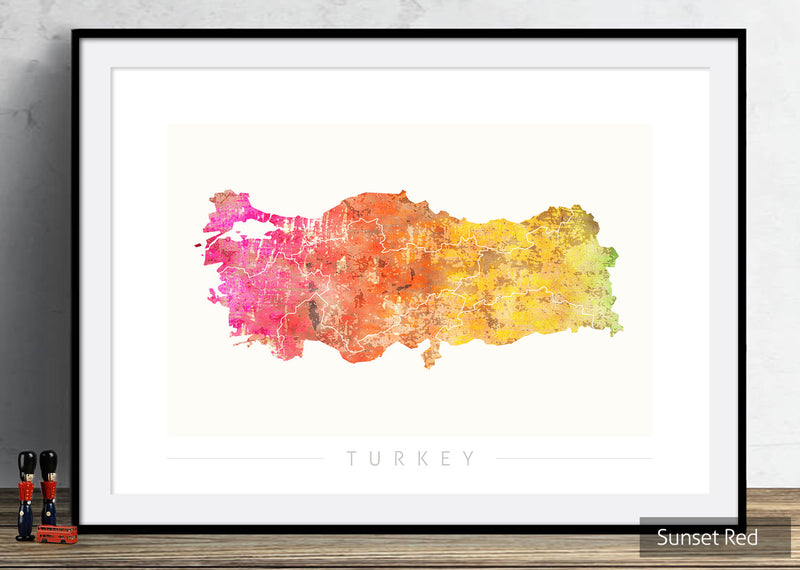 Turkey Map: Country Map of Turkey - Sunset Series Art Print