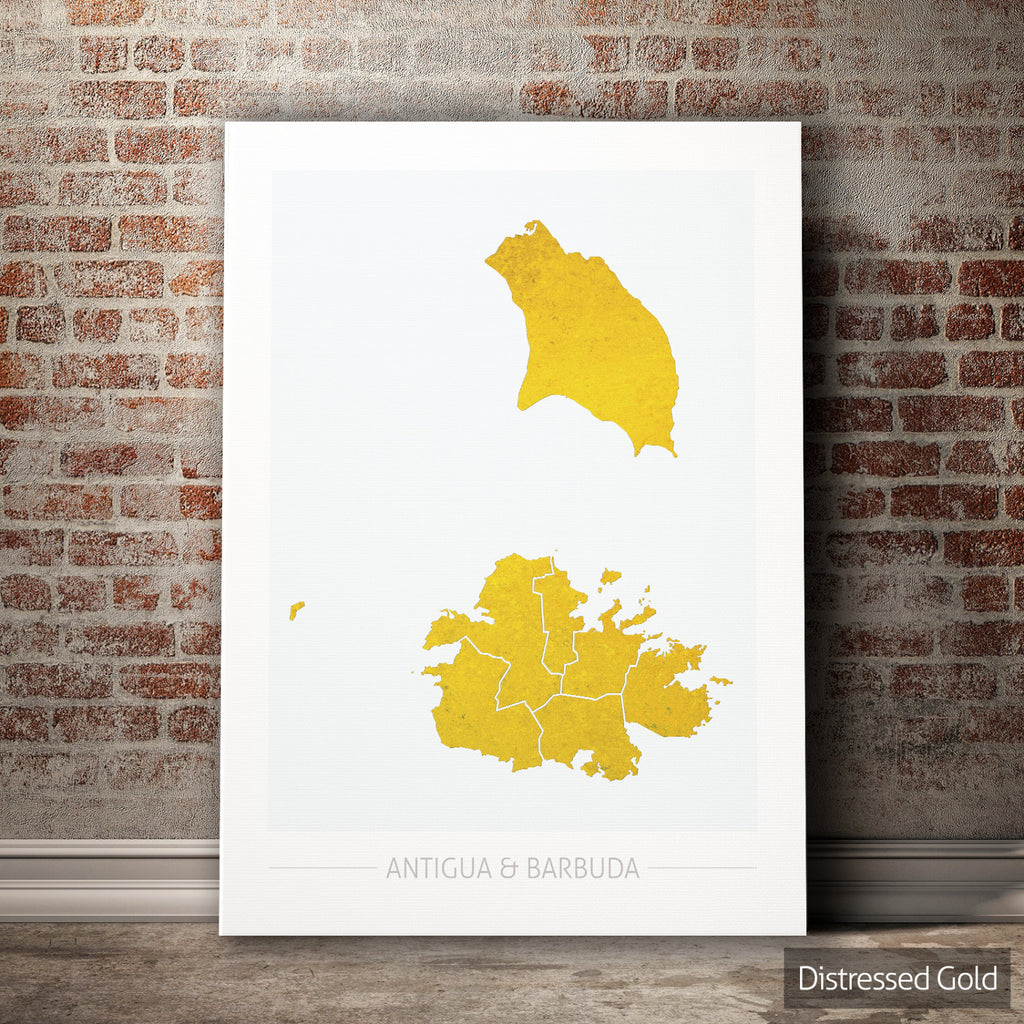 Antigua and Barbuda Map: Country Map of Antigua and Barbuda - Colour Series Art Print