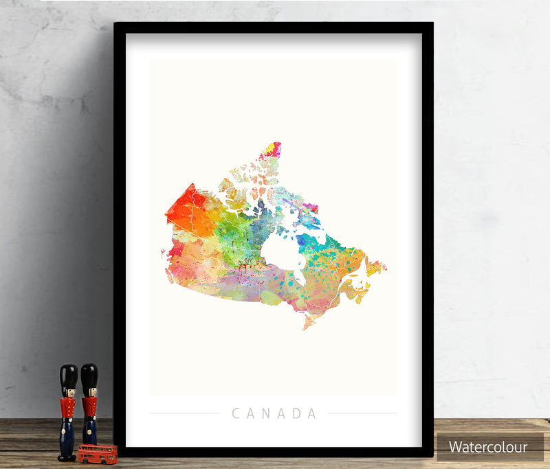 Canada Map: Country Map of Canada - Sunset Series Art Print