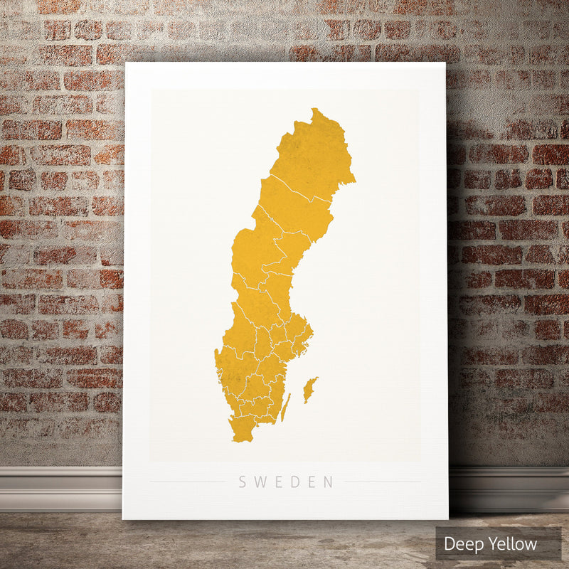 Sweden Map: Country Map of Sweden - Colour Series Art Print
