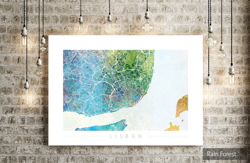 Lisbon Map: City Street Map of Lisbon, Portugal - Nature Series Art Print
