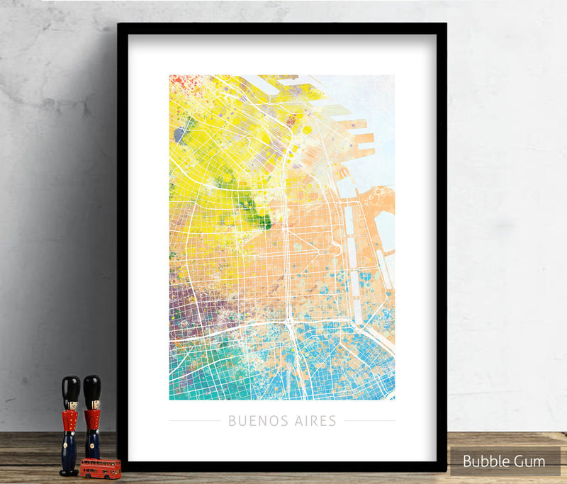 Buenos Aires Map: City Street Map Buenos Aires Argentina - Nature Series Art Print