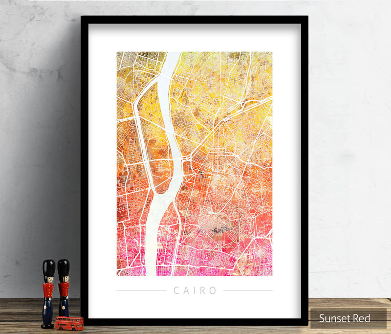 Cairo Map: City Street Map of Cairo, Egypt - Sunset Series Art Print