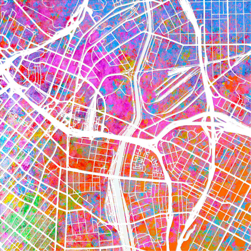 Los Angeles Map: City Street Map of Los Angeles, California - Sunset Series Art Print