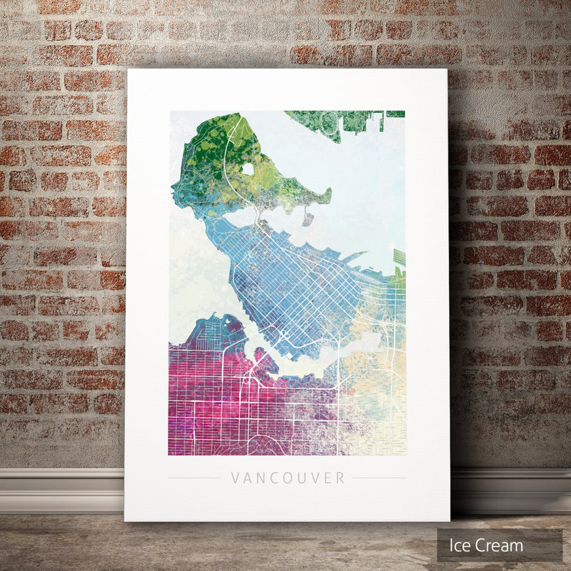 Vancouver Map: City Street Map of Vancouver, Canada - Nature Series Art Print
