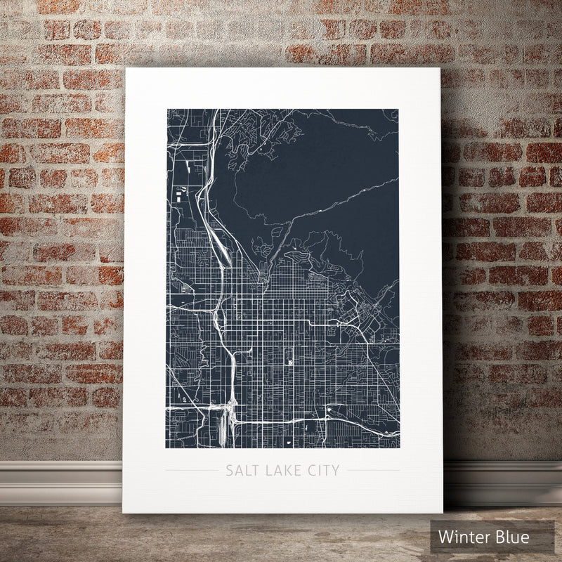 Salt Lake City Map: City Street Map Salt Lake City, Utah - Colour Series Art Print