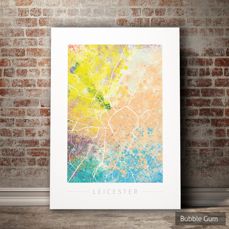Leicester Map: City Street Map of Leicester, England - Nature Series Art Print