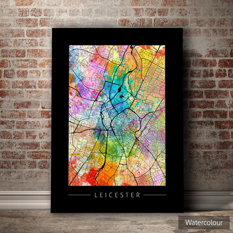 Leicester Map: City Street Map of Leicester, England - Sunset Series Art Print