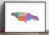 Jamaica Map: Country Map of Jamaica - Sunset Series Art Print